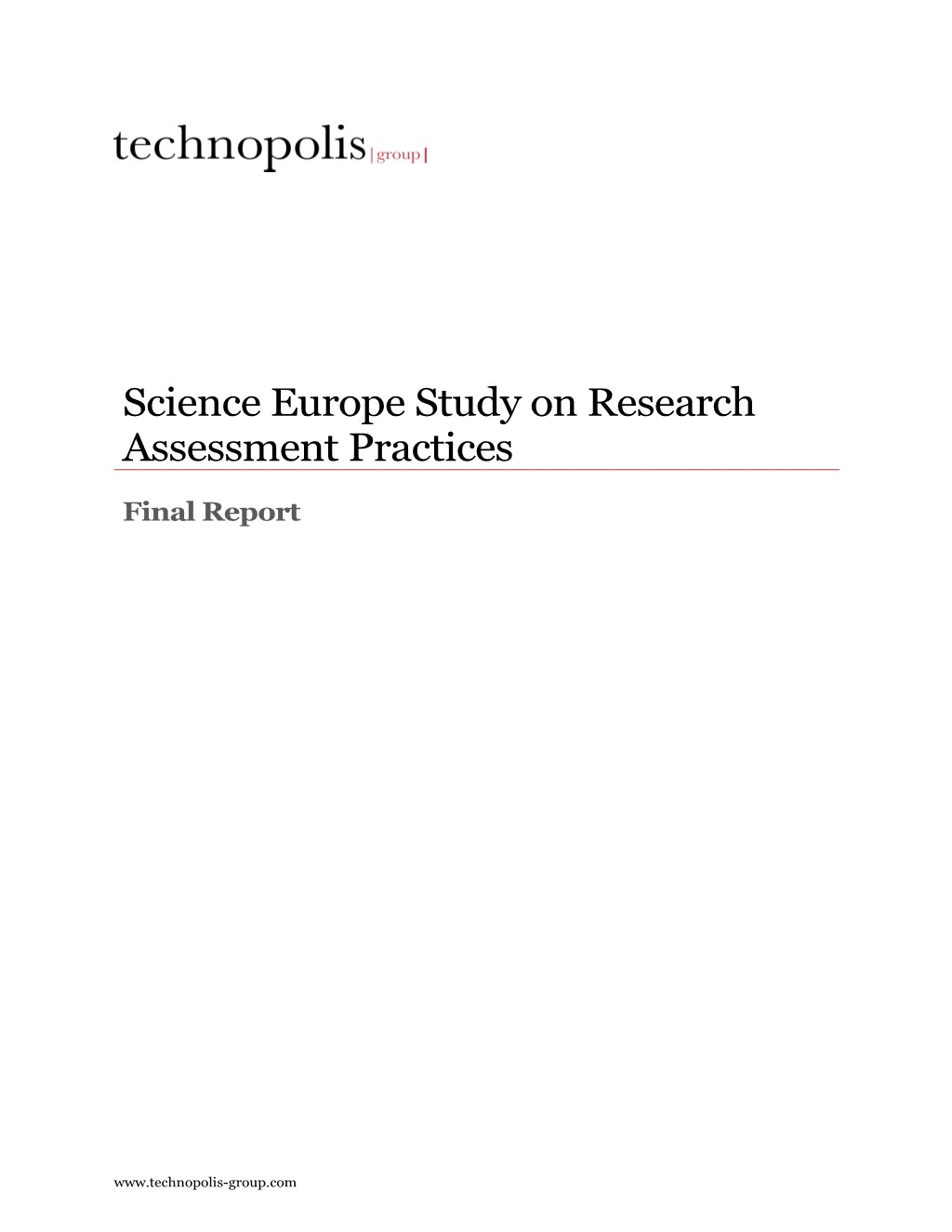 Cover of the 2019 Science Europe Study on Research Assessment Practices
