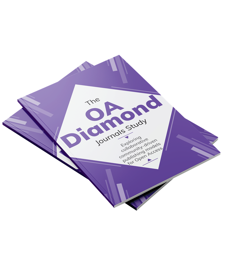 "Cover A4-sized document with a purple cover and a white diamond in the centre with the text ""The OA Diamond Journals Study"""""